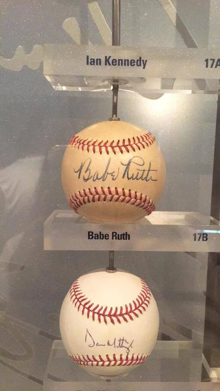 Autographed baseballs by Yankee Greats in the New York Yankees Museum