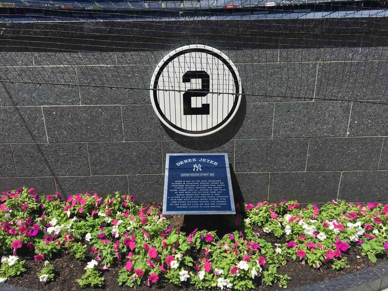 Derek Jeter's #2 retired number plaque in Monument Park