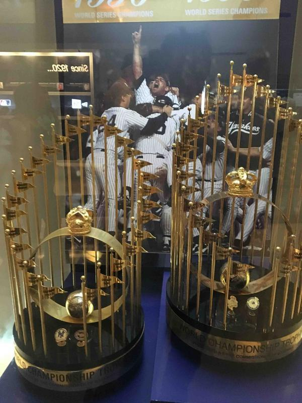 Yankees World Series Trophies in the New York Yankees Museum