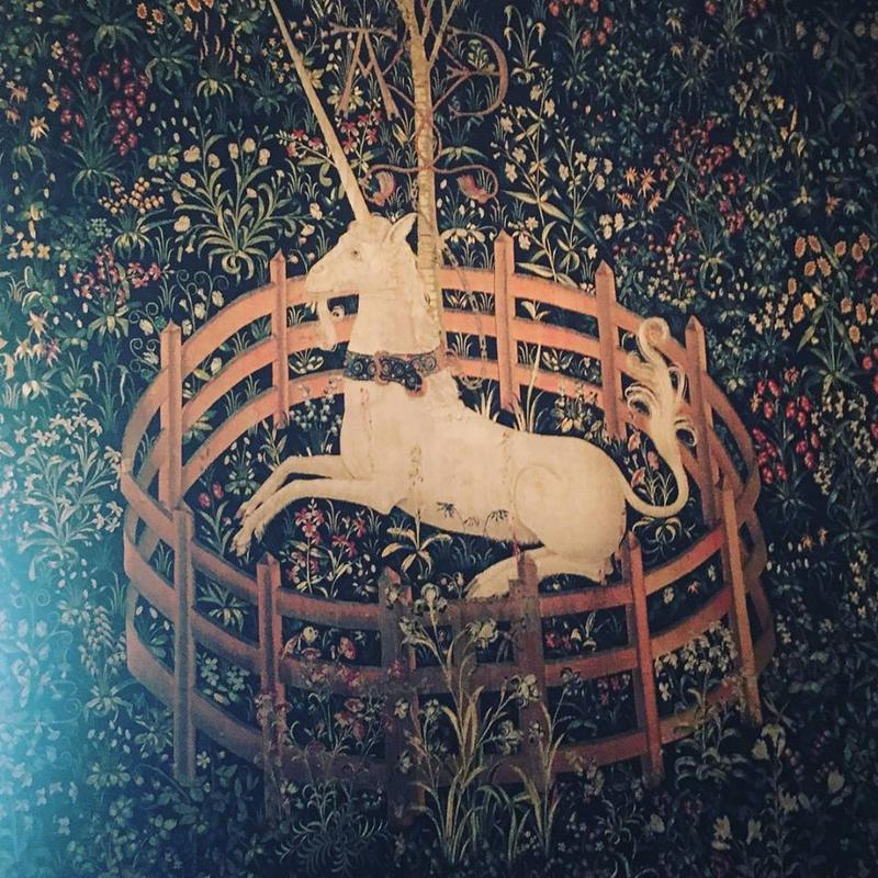 From the Unicorn Tapestry room, the most popular piece, known as Unicorn in Captivity which appears in Harry Potter.