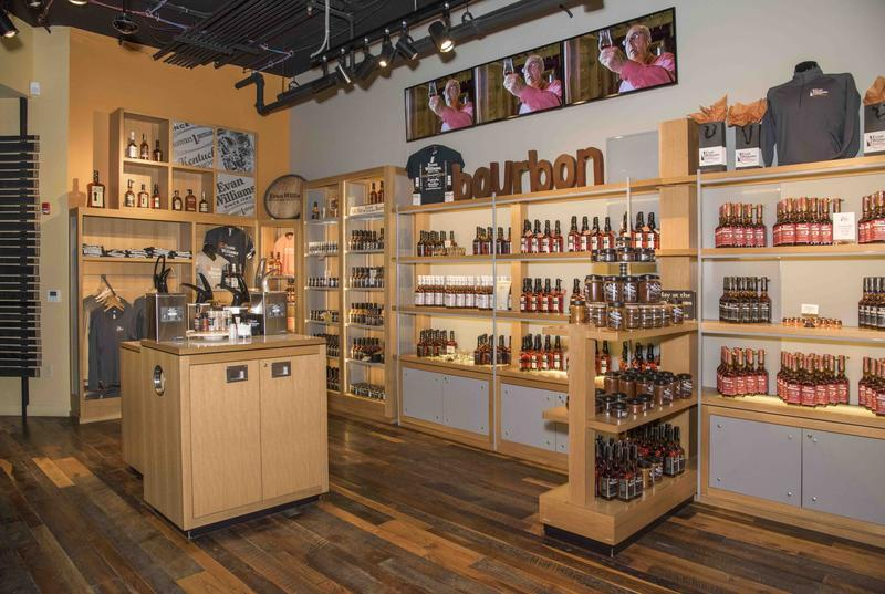 Merchandise at the Evan Williams Bourbon Experience Retail Store
