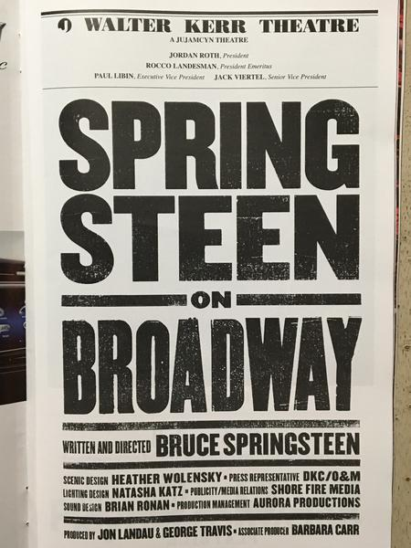 Springsteen on Broadway Playbill Credits Page