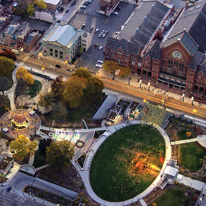 Music Hall and Washington Park from Above